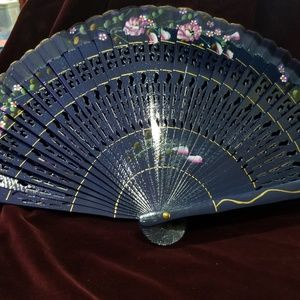 Wood Handpainted Hand Fan - Deep Blue with Pink fl